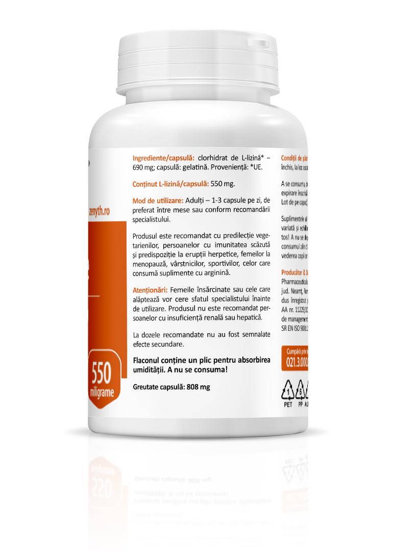 L-Lizina (L-Lysine) – 500 mg – 90 capsule vegetale